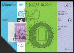 Original Ticket Eintrittskarte Olympia München 1972 Fußball Sport De Courbertin - Tickets D'entrée
