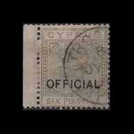 CYPRUS 1882/86 SIX PENCE DIE I USED STAMP WITH FORGED OVERPRINT OFFICIAL - Chypre (...-1960)