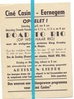 Kleine Affiche Pub Reclame Ciné Cinema Bioscoop - Casino Eernegem - Road To Rio - Publicité Cinématographique