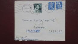 Lettre Chatellerault Vienne Affranchissement Gandon Et Timbre Espagnol Pour Poste Restante Salamanque 1954 - Marcophilie (Lettres)