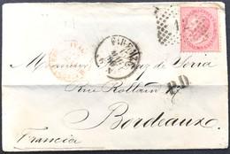 40 Cent DLR Tiratura Torino, Su Busta Firenze 15/5/1866 Per Bordeaux (Francia) - 1861-78 Vittorio Emanuele II
