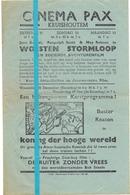 Kleine Affiche Pub Reclame Ciné Cinema Bioscoop - Pax Kruishoutem - Woesten Stormloop - Buster Keaton - Cinema Advertisement