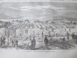 Gravure 1864  CAMPEMENT DE TOULON Troupes Se Rendant En Algérie - Vieux Papiers