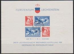 Lichtenstein 1936 MiNr. Block 2 Eröffnung Des Postmuseums, 2. Briefmarkenausstellung Vaduz (E128) Besonderheit Stempel - Liechtenstein