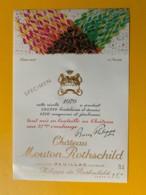 3973 - Château Mouton Rothschild 1979 Pauillac Dessin De Domoto Spécimen - Bordeaux