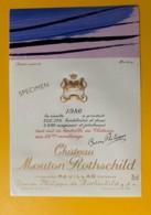 3974 - Château Mouton Rothschild 1980 Pauillac Dessin De Hartung Spécimen - Bordeaux