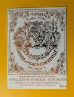 3982 - Château  Longueville Au Baron De Pichon-Longueville   Pauillac Spécimen - Bordeaux