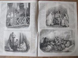 Gravure 1864 Algérie Interieur Maison Mauresque Maures   Famille Juive   Ecole Arabe Alger - Unclassified