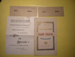 Programme Tableau De La Troupe Grand Théatre De Montpellier 1899 - 1900 Plus Bulletin De Vote - Programmes
