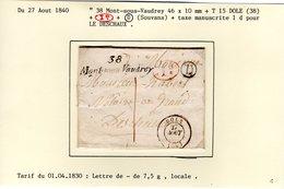 """Jura : Cursive """" 38 Mont Sous Vaudrey """" 46x10 Mm + T15 DOLE  + Id  + Taxe 1d +Boite Rurale D Sur LSC  En 1840   TTB - Marcophilie (Lettres)"""