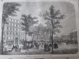 Gravure 1864 Theatre Des Folies Dramatiques Boulevard Saint Martin PARIS - Vieux Papiers