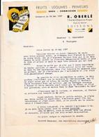 1937 - SOISSONS - Fruits & Légumes - BANANES - R. OBERLé - Documents Historiques