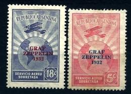 2 TIMBRES POSTE AÉRIENNE- ARGENTINE- GRAF ZEPPELIN 1932- NEUFS* TRACE DE CHARNIERE- GOMME D'ORIGINE- - Zeppelins