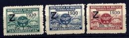 3 TIMBRES POSTE AÉRIENNE BOLIVIE 1930- ZEPPELIN- SURCHARGES- NEUFS* AVEC TRACE DE CHARNIERE- GOMME D'ORIGINE- - Zeppelins