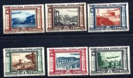 6 TIMBRES POSTE AÉRIENNE ITALIE- CROCIERA ZEPPELIN 1933- N° 45 à 50- NEUFS* TRACE INFIMES- GOMME D'ORIGINE- - Zeppelins