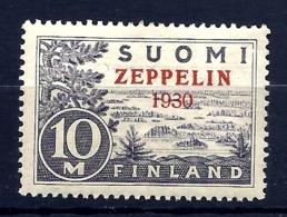RARE TIMBRE POSTE AÉRIENNE SUOMI- ZEPPELIN 1930 SIGNÉ- N° 1- NEUFS** SANS CHARNIERE- GOMME D'ORIGINE- 2 SCANS - Zeppelins