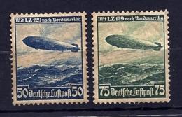 2 TIMBRES POSTE AÉRIENNE ALLEMAGNE- ZEPPELIN LZ 129- N° 55 + 56- NEUFS* - GOMME D'ORIGINE- 2 SCANS - Zeppelins