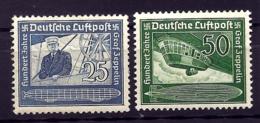 2 TIMBRES POSTE AÉRIENNE ALLEMAGNE- GRAF ZEPPELIN- N°57- 58- NEUFS* TRACE DE CHARNIERE- GOMME D'ORIGINE- - Zeppelins