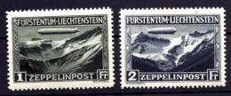 2 TIMBRES POSTE AÉRIENNE LIECHTENSTEIN- ZEPPELIN POST- N°7- 8- NEUFS* TRACE DE CHARNIERE- GOMME D'ORIGINE- - Zeppelins