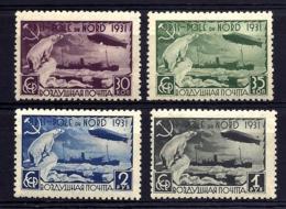 4 TIMBRES POSTE AÉRIENNE URSS POLE DU NORD- ZEPPELIN 1931- N° 27 à 30- NEUFS**- GOMME D'ORIGINE- - Zeppelins
