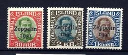 3 TIMBRES POSTE AÉRIENNE ISLANDE SIGNÉS- ZEPPELIN 1931- N° 9 à 11- NEUFS* TRACE DE CHARNIERE- GOMME- 2 SCANS - Zeppelins