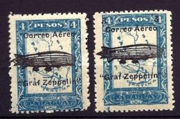 2 TIMBRES POSTE AÉRIENNE ARGENTINA- GRAF ZEPPELIN- N° 44- 45- DENTELÉS NEUFS** SANS CHARNIERE- GOMME D'ORIGINE- - Zeppelins