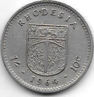 Rhodesia 10 Cents   1964  Km 2  Xf - Rhodésie