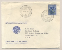 Nederland - 1952 - 20 Cent Zomerzegel Op Cover Van PTT Den Haag Naar Cleveland / USA - Bloemen Flowers Korenbloem - Periode 1949-1980 (Juliana)