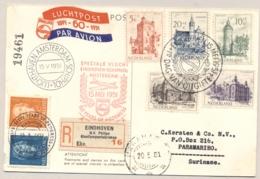 Nederland - 1951 - Zomerserie Kastelen (met Plaatfout Op 2c Zegel) 1e Dag Met Speciale Luchtpost Naar Paramaribo - Periode 1949-1980 (Juliana)