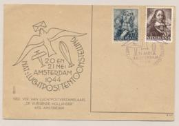 Nederland - 1944 - 17,5 En 20 Cent Zeehelden Op Speciale Kaart Luchtposttentoonstelling - Brieven En Documenten