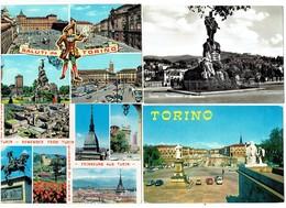 Lot 10 Cpm - TORINO - Saluti MULTIVUES MONUMENT VOITURES Autobus Camion Tube Citroen Illustration Horloge Pompe Essence - Collections & Lots