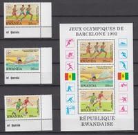 Rwanda 01.02.1993 Mi # 1454-56 Bl 112 Barcelona Summer Olympics MNH OG - Summer 1992: Barcelona