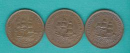 George V - Half / ½ Penny - 1923 (KM13.1); 1931 (KM13.2) & 1933 (KM13.3) - Afrique Du Sud