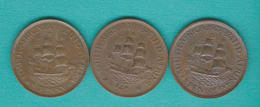 George V - Half / ½ Penny - 1923 (KM13.1); 1931 (KM13.2) & 1933 (KM13.3) - South Africa