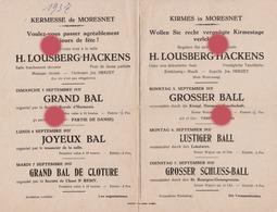 MORESNET ( Plombières ) KERMESSE De Septembre 1937 - Programma's