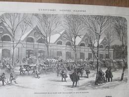 Gravure 1864   Emmagasinement De La Glace  Glacières   Du Bois De Boulogne - Unclassified