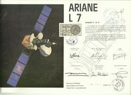 ESPACE - Lancement Fusée ARIANE L7 - 18/10/1983 - Encart Satellite INTELSAT V - CENTRE SPATIAL GUYANAIS - KOUROU - FDC & Commemoratives