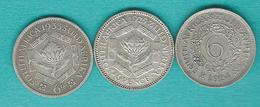 George V - 6 Pence - 1923 (KM16a) 1925 (KM16.1) & 1933 (KM16.2) - Afrique Du Sud