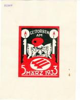 """Propaganda Karte, Aufgeklebte Ausschnitte,  """" Gestorben Am 5. März 1933 """", - Weltkrieg 1939-45"""