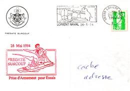FLF SURCOUF Prise D'armement Pour Essais Sur Enveloppe Illustrée Obl. Lorient Naval 26/05/94 - Marcophilie (Lettres)