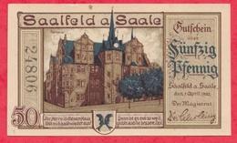 Allemagne 1 Notgeld De 50 Pfenning Stadt Saalfeld A Saale Dans L 'état N °2481 - [ 3] 1918-1933 : République De Weimar