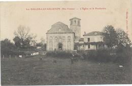 87- LES SALLES-LAVAUGUYON -L'église Et Le Presbytère -1907 - Beau Cachet Postal Du Village - France