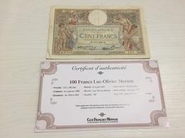 BILLET FRANÇAIS Ancien 100 FRANCS LUC OLIVIER MERSON 1938 Avec Certificat - 1871-1952 Anciens Francs Circulés Au XXème