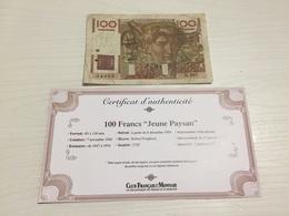 BILLET FRANÇAIS Ancien 100 FRANCS JEUNE PAYSAN 1949 Avec Certificat - 1871-1952 Anciens Francs Circulés Au XXème