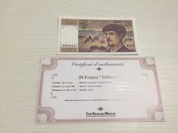 BILLET FRANÇAIS Ancien 20 FRANCS DEBUSSY 1987 Avec Certificat - 1962-1997 ''Francs''
