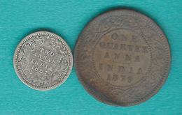 India - Victoria - Quarter / ¼ Anna - 1879 (KM486) 2 Annas - 1887 (KM488) - Inde