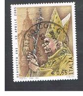 ITALIA REPUBBLICA  -  2005 PAPA BENEDETTO XVI - USATO ° - 6. 1946-.. Repubblica