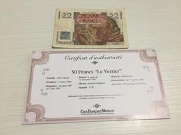 BILLET FRANÇAIS Ancien 50 FRANCS LE VERRIER 1947 Avec Certificat - 1871-1952 Antiguos Francos Circulantes En El XX Siglo