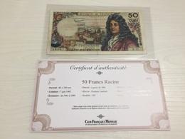 BILLET FRANÇAIS Ancien 50 FRANCS RACINE 1962 Avec Certificat - 1962-1997 ''Francs''