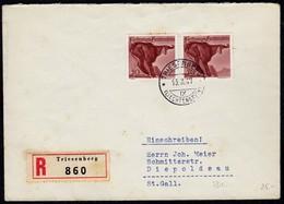 Liechtenstein 1947 R-Brief Mi.253 MEF Gemse V.Triesberg-Diepoldsau  (23028 - Liechtenstein